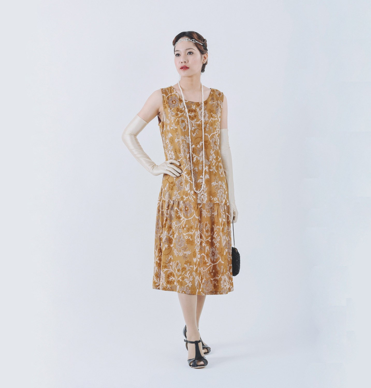 elegant great gatsby dress with brown burnout velvet 1920s
