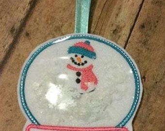 Snowman Snow Globe - Christmas - Ornament -  In The Hoop - DIGITAL Embroidery DESIGN