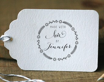 Made With Love By Personalized Custom Handmade Name Wedding Gift Card Handle Mounted Rubber Stamp Or Pre-inked Stamp Self inking Stamp R581