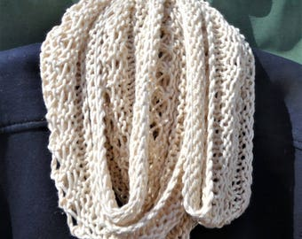 Cowl Handknit Cream Cowl Spring Summer Cowl Lacy Pima Cotton & Modal Cowl Knit Ecru Infinity Scarf Handknit Off White Ecru Cotton Modal Cowl