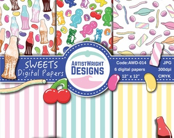 Sweets Digital Paper Pack - Sweets Patterns - Candy Patterns - Sweets Paper Pack - lollipops, jelly beans, candy. COMMERCIAL USE*.AWD-014