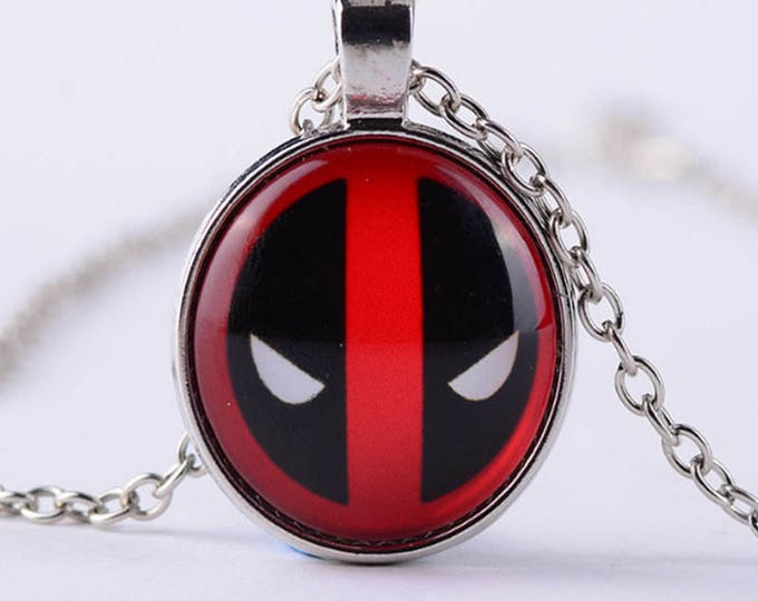 Deadpool Pendent Necklace Alloy and Lucite 18 Inch Chain