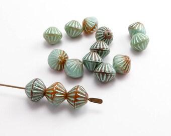 Orange Grey Bicone Czech Glass Beads, (15 pcs) 8x10mm Orange Bicon Beads, Grey Bicone Beads, Green Bicone Beads, Czech Bicone Beads BIC0006