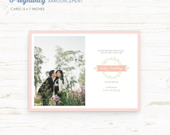 Pregnancy Announcement Card - Our little baby - Template Card - Printable Card - DIY - PSD template - Instant Download - MAT008