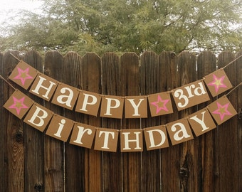 Happy Birthday / Birthday Party Banner / Sign / Happy 1st Birthday Decorations / Photo Prop / Office Party / Age Specific / Stars or Hearts