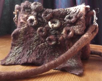 Small Brown Handbag, Nuno Felt Bag,O.o.a.k.