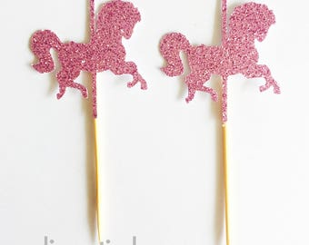 Carousel Horse Cupcake Toppers - Horse Cupcake Toppers - Carousel - Merry Go Round