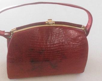 Brown Leather Kelly Handbag by Frank Werner San Francisco, Vintage 1950's - 1960's