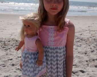 Custom Boutique  Girls Ruffle Chevron Summer Dress  Sun Dress  Size 5/6  Ready to Ship.  Dolly and Me Dress