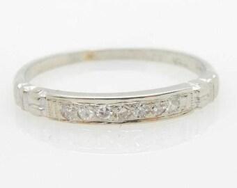 Vintage 14K White Gold 0.20cttw Old-Mine Diamond Wedding Band Ring Sz 4.75; sku # 3333