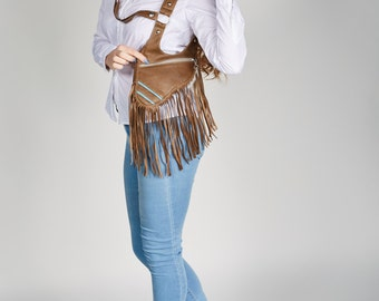 "Holster bag olive leather fringed bag festivalbag cross body bag shoulder holster leather revolverbag ""Roxy"""