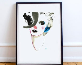 """Blue ear. 40x60 / 15.75"""" x 23.62"""". High-quality Giclee, pigment print by Ela Gądek."""