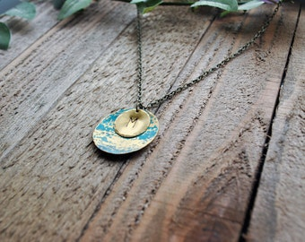 Brass Initial Necklace with Blue Patina - Layered Necklace - Custom Necklace