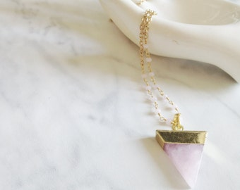 POINT - brass necklace - long chain necklace - pink quartz pendant - triangle pendant - gold jewelry - boho jewelry - gypsy necklace