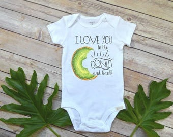 Baby Shower Gift, Donut shirt, To the Moon and Back, Funny baby bodysuit, Funny Baby Gift, Cute Baby Shower Gift, Donut Bodysuit,Love Donut