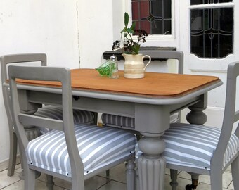 SALE Antique Dining Table and Chairs Set Mahogany Grey Normandy Stripe Linen Seats 4 SALE