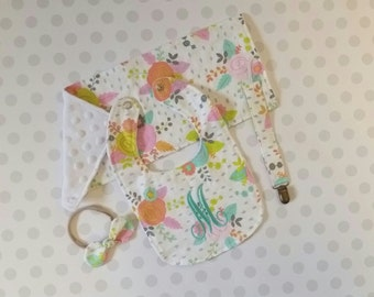 Baby girl set, floral newborn set, monogrammed bib, burp cloth, nylon head band, pacifier strap