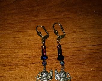 Cupid Charm Earrings ~ Victorian Cherub Angel Amethyst drop earrings