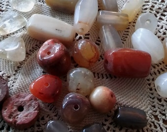 Rectangle Agate beads ~ Mix Natural stone beads ~ large carnelian agate citrine stone beads