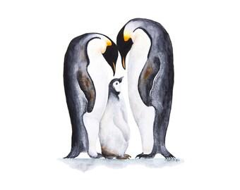 Arctic Animal Print, Penguin Nursery Art, Penguin Family, Arctic Nursery, Penguin Print, Baby Room Decor, Penguin Watercolor 8.5x11