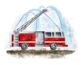 Toddler Room Decor - Fire Truck Nursery Art - Fire Truck Print - Toddler Art - Fire Truck Decor - Fire Engine Wall Art - Boys Art - for Boys
