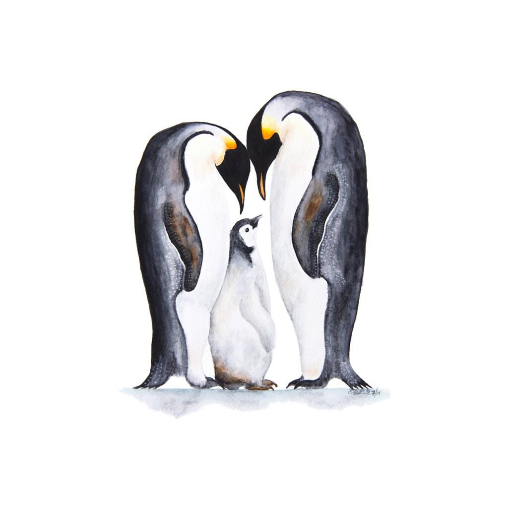 Arctic Animal Print Penguin Nursery Art Penguin Family