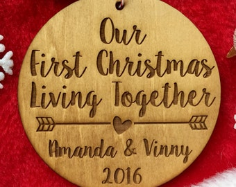 Our First Christmas Living Together Ornament - Personalized Wood Ornament, Gifts for Her, New Home Ornament, New Family, Commemorative Gift
