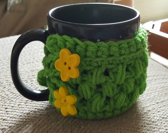 Neon Green Mug Cozy, Handmade Mug Warmer, Crocheted Mug Warmer, Mug Decoration, Yellow Floral Buttons, Office, Home, Housewarming Gift