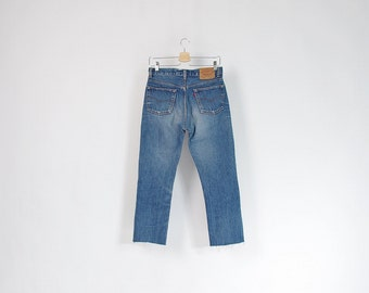 30% OFF SALE - 90s Levi's 501 Crop Raw Hem Distressed Denim Street Style Jeans Made in USA / Size W30