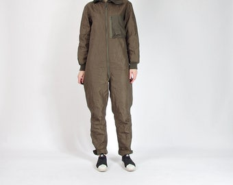 30% OFF SALE - 1989 German Military Olive Green Liner Coveralls / Size M/L