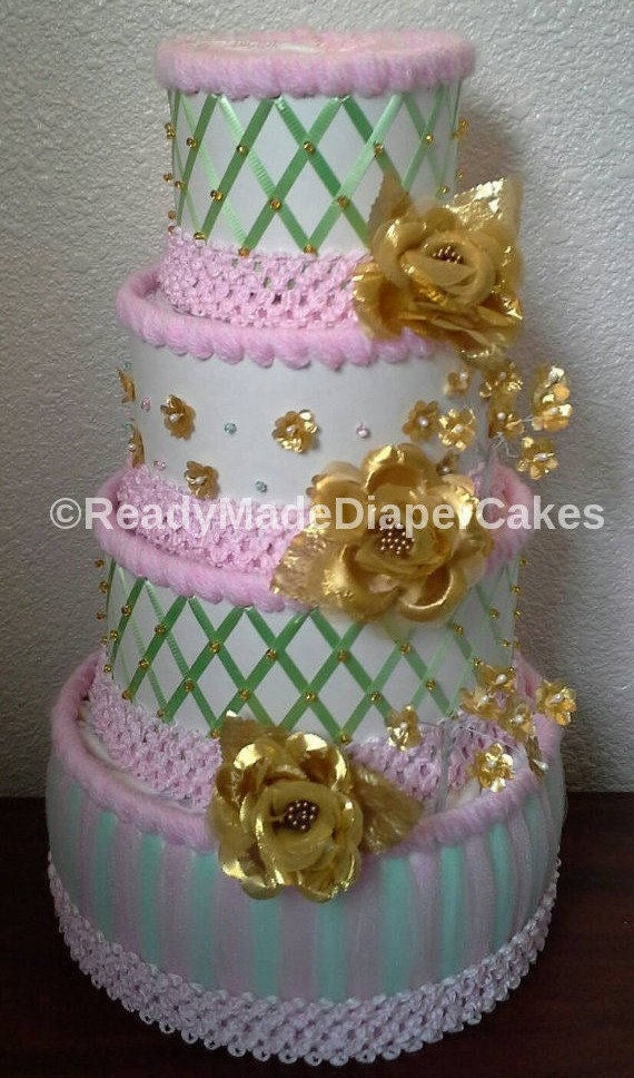 Mint Green Light Pink White Gold Themed Baby Girl Shower
