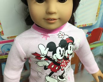 Up-Cycled Minnie and Mickey Shirt for American Girl Dolls or any 18 inch doll