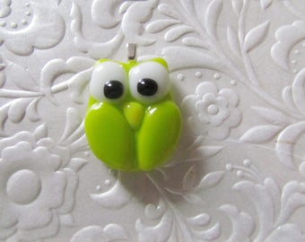 "Fused Owl Pendant - Lime Green Owl - Glass Owl Pendant - Lime Green - Measures 1"" x 1.25"""