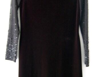 Vintage LBD // 90's Sheer and Velvet Dress // Vintage Formal Wear // Velveteen Dress
