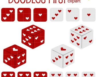 Heart Dice Digital Clip Art for Scrapbooking Card Making Cupcake Toppers Paper Crafts