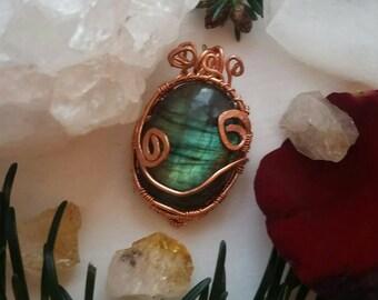 Wire Wrapped Labradorite Pendant, Copper Labradorite Pendant, Green Labradorite Pendant, Green Labradorite Necklace, Labradorite Necklace