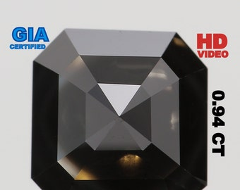 GIA CERTIFIED 0.94 Ct Natural Loose Diamond Emerald Fancy Black Color L5807