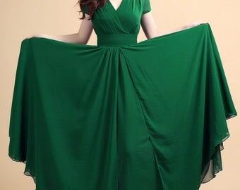 Green maxi evening dress