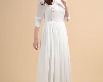 White Lace Maxi Dress - Chiffon Maxi Dress - Pink Lace Maxi Dress - Elegant Lace Wedding Dress Maxi Dress Bridesmaid Dress Prom Dress - A295