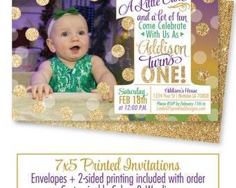 Mardi Gras 1st Birthday Invitation - Purple Green Gold Glitter Mardi Gras Birthday Photo Invites, New Orleans Birthday Party Invitations