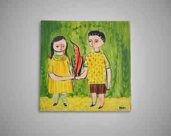 Vintage Hand Painted Tile, Primitive, Folk, Outsider Art Artist Signed 'Fern', OOAK, Girl and Boy Holding Bird, Collectible Ceramic Art Tile