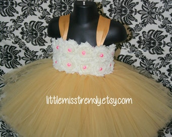 Gold Tutu Dress, Gold Flower Girl Tutu Dress, Gold and Ivory Tutu Dress, Gold Tutu, Gold Flower Girl Dress, 1st Birthday Tutu Dress, Tutu