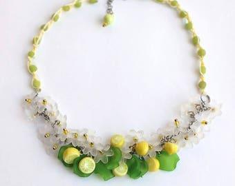 Jewel 2 in 1 : convertible necklace to bracelet / Walk under Lemon trees
