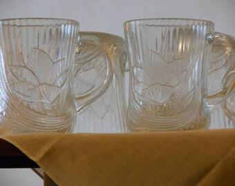 Set of Six Arcoroc Canterbury Crocus Glass Mugs