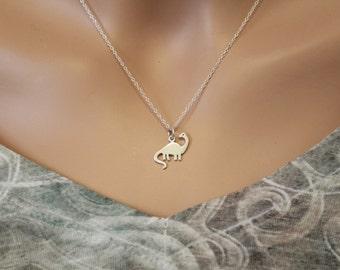 Sterling Silver Brontosaurus Dinosaur Charm Necklace, Dinosaur Charm Necklace, Dinosaur Necklace, Long Neck Dinosaur Necklace, Dino Necklace