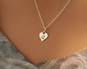 Sterling Silver Q Letter Heart Necklace, Silver Tiny Stamped Q Initial Heart Necklace, Stamped Q Letter Charm Necklace, Q Initial Necklace