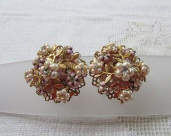 vintage pink enamel, pearl and rhinestone clip on earrings 50's Haskell Robert De Mario style