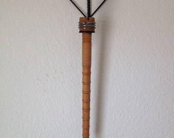 Vintage Wooden Textile Bobbin w/Twisted Metal Heart Hanger.  Vintage Bobbin. Vintage Decor. Textile Bobbin. Wooden Bobbin. Wall Hanging.