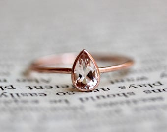 14K Pear Morganite Ring, Solitaire Ring, Dainty Engagement Ring, Pink Stone, Blush Stone, Gemstone Ring, Bezel, Sold Gold, Stacking Ring
