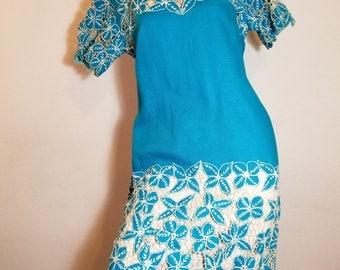FREE  SHIPPING  1950 applique Linen Dress